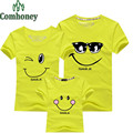 Summer Family Matching Clothes Smiley Print Child Parent Home Member Love Smile T-Shirt Father Mother Kids Outfits Cotton Tees