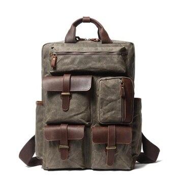 Waterproof Canvas Backpack Male Leather Backpacks for men Laptop Bag High Quality Multi-pocket Large Capacity Travel Backpacks