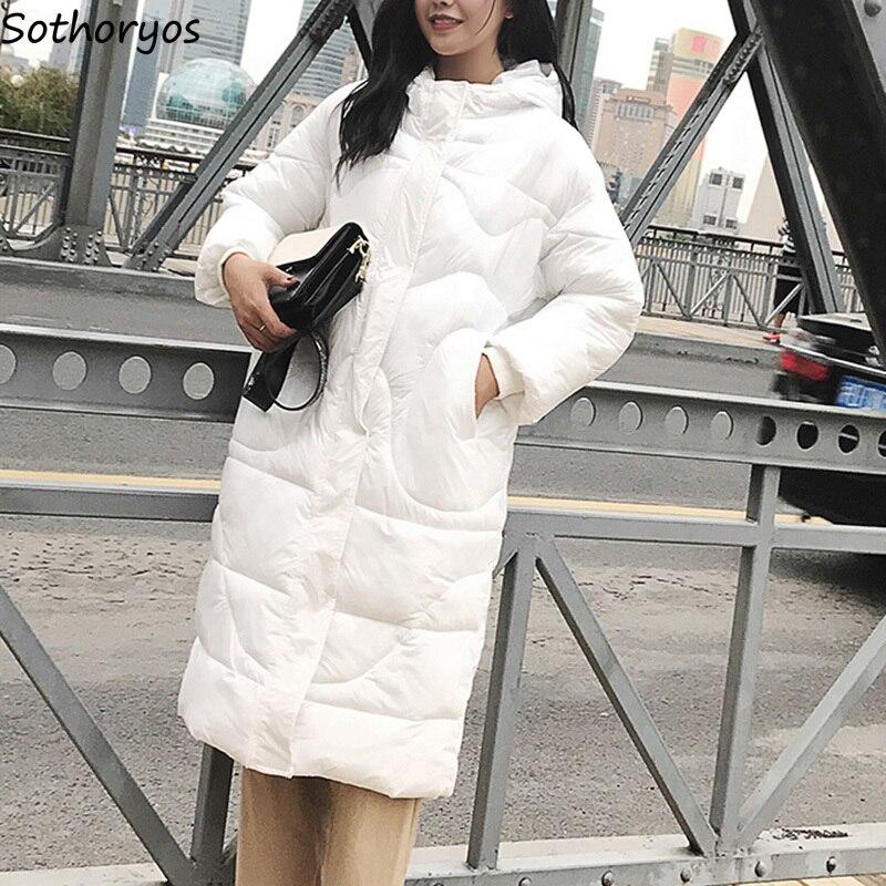 Jackets & Coats Parkas Women Oversize Zipper Hooded Big Pockets Solid Simple All-match Korean Style Slim Thicker Velvet Coats Womens Parka Chic