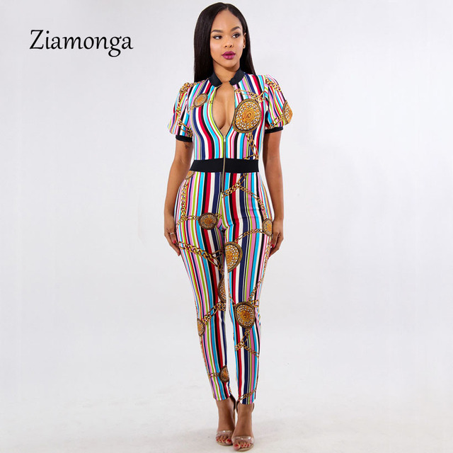 13d6940c6e Ziamonga Chain Printed Sexy Jumpsuit Summer Deep V Short Sleeve Skinny Club  Bodycon Rompers Womens jumpsuit Female Overalls