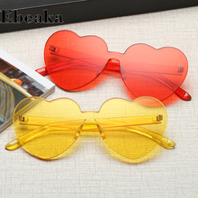 Ebeaka Love Heart Sunglasses Women Brand Designe Transparent Frame Yellow Red Shape Sun glasses For UV400