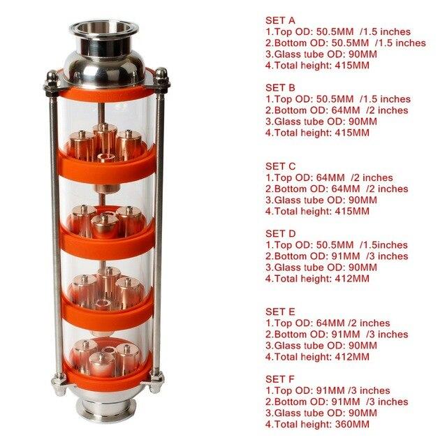 NEUE kupfer blase Destillation spalte mit 4 abschnitte für brennerei Glas spalte