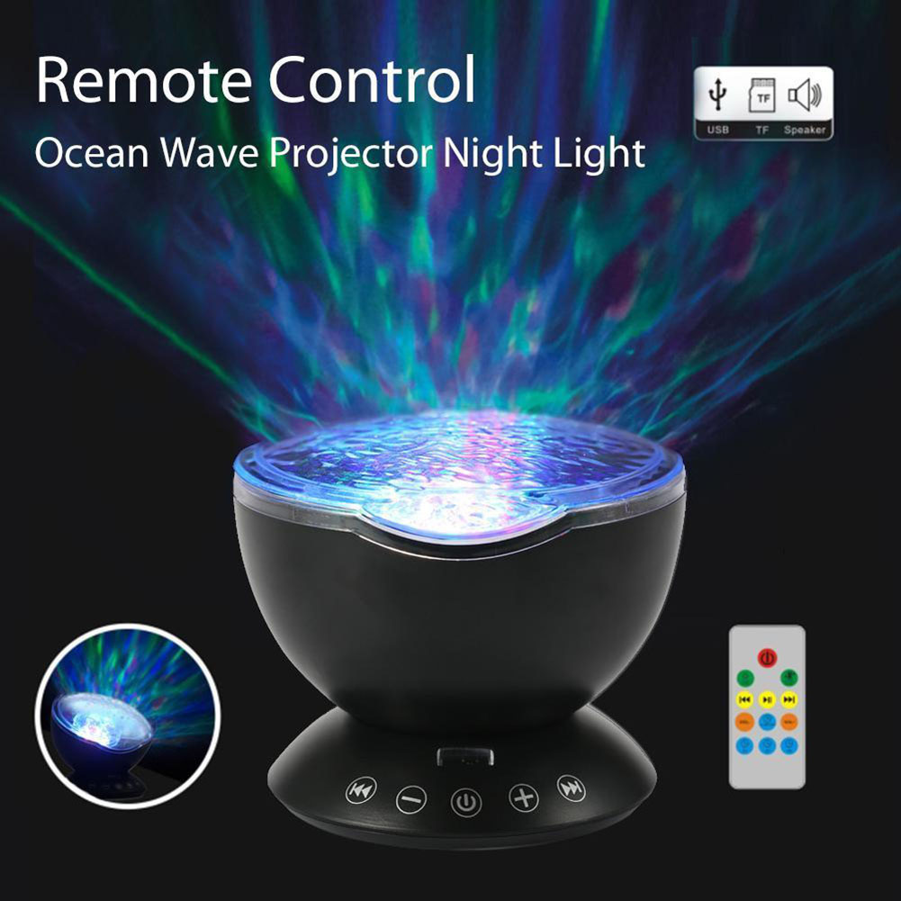 Ocean Waves Projector Night Light Music Player Kids Adults Bedroom Living Room Remote Control Lamp LB88Ocean Waves Projector Night Light Music Player Kids Adults Bedroom Living Room Remote Control Lamp LB88