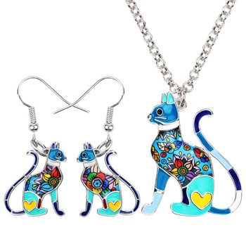 Bonsny Enamel Alloy Elegant Sitting Kitten Cat Earrings Necklace Charms Jewelry Sets 1