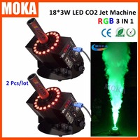 2pcs/lot Co2 Special Effects Equipment LED RGB CO2 Jets Shot 8 10M White Cold Smoke CO2 Fog Machine For Night Club