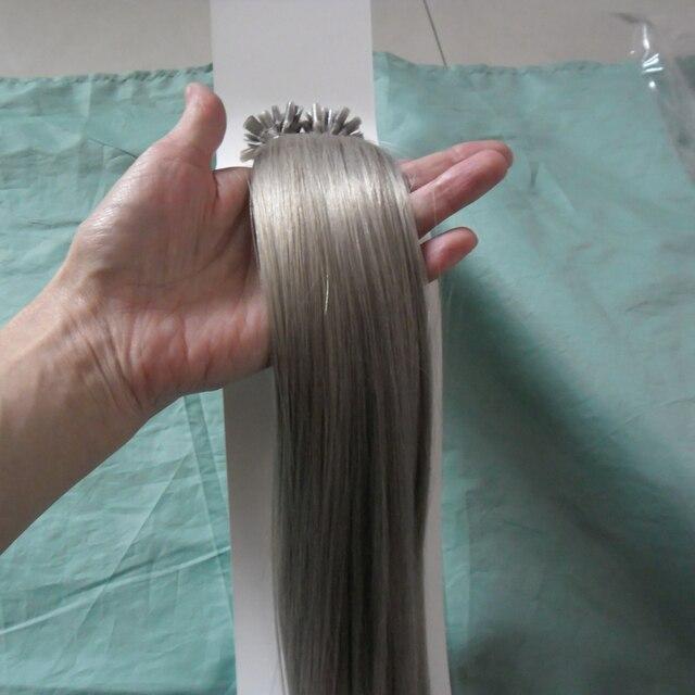 Brazilian Light Grey Straight Hair Keratin Capsule Silver Hair