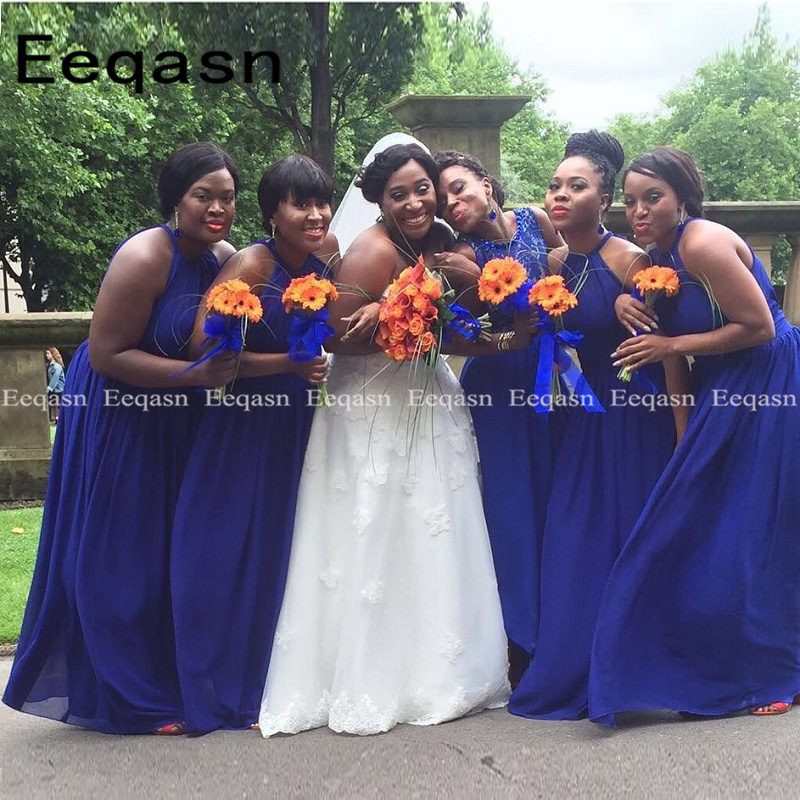 Simple Blue Chiffon Bridesmaid Dresses For Wedding Party 2019 Adult African Black Girls Long Custom Formal Party Gowns Under 100