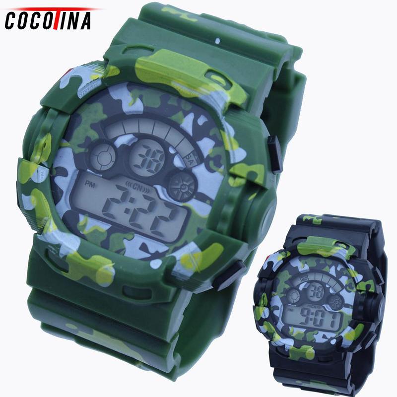 Cocotina Children Fashion Sport Camo Watch Men Military Watch Jungle Waterproof Electronic Wristwatch for Kids Boys Reward Gift