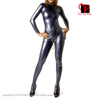 metallic purple and golden Sexy latex catsuit with feet Socks zipper back rubber Body suit Jumpsuit overall LT 116