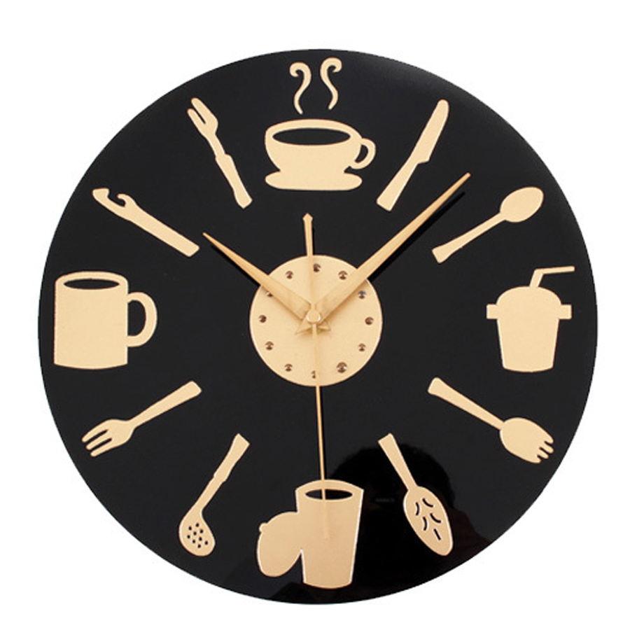 Coffee Time Wall Clock Modern Design Decorative Kitchen ...
