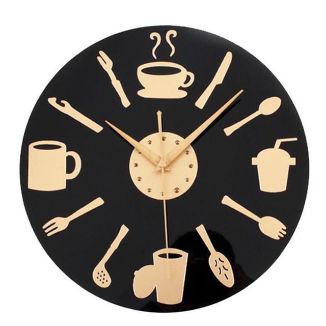kitchen clocks design studio coffee time wall clock modern decorative european retro style art black gold watch home decor 12 inch