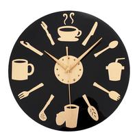 Coffee Time Wall   Clock   Modern Design Decorative Kitchen   Clocks   European Retro Style Art Black & Gold Watch Home Decor 12 inch