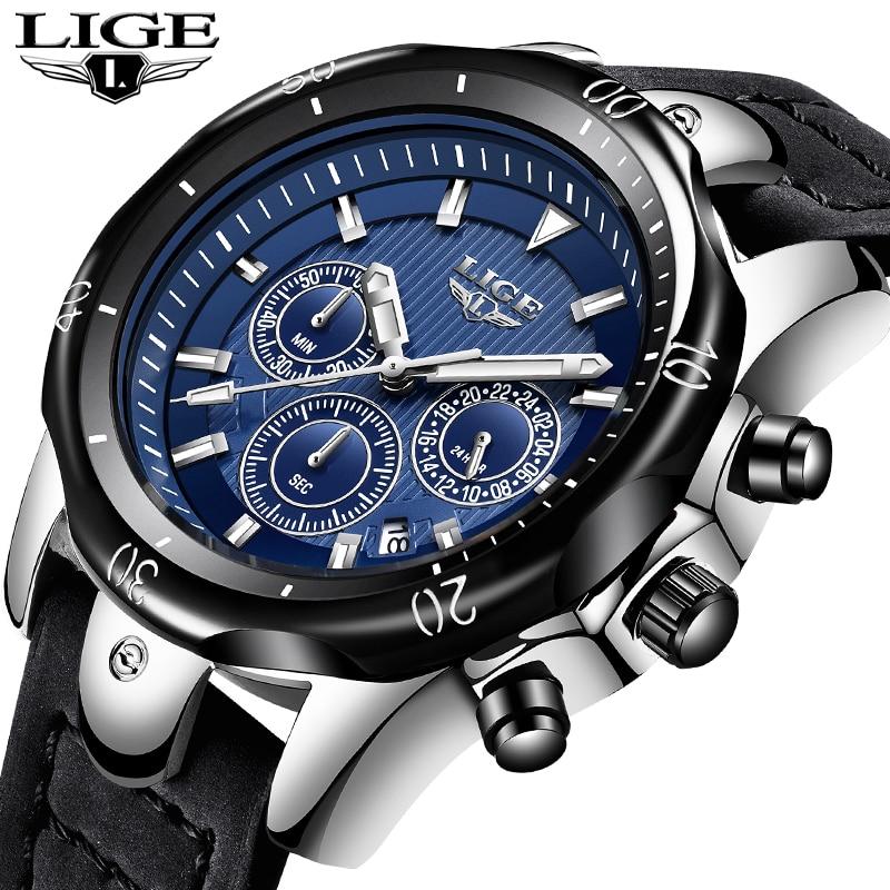 Relogio Masculino LIGE Hommes Montres Top Marque De Luxe Or Montre À Quartz Hommes En Cuir Décontractée Militaire Étanche Sport Montre-Bracelet