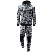OLOEY Sport Suit Men Cotton Tracksuit Male Set 2019 Spring Autumn Camo Track suits Top & Pants 2Pcs/Set Plus Size M-2XL
