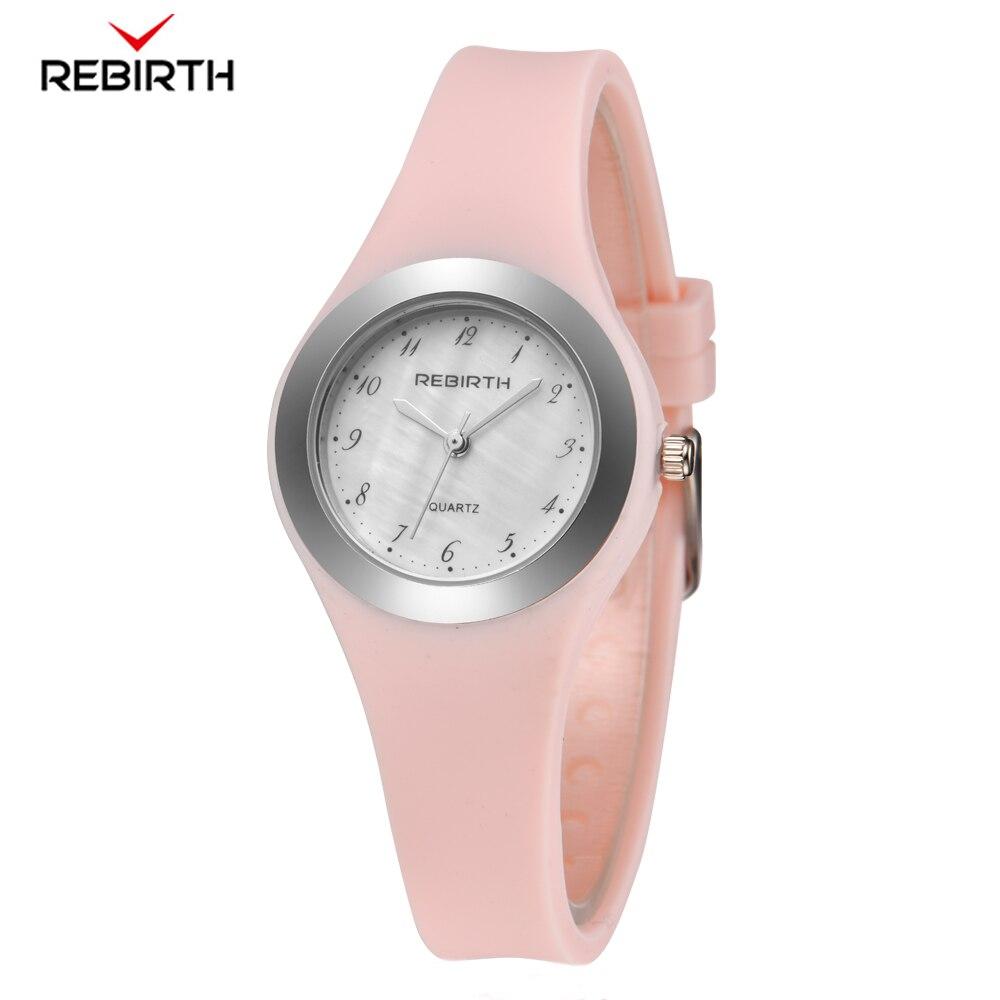 REBIRTH Women's Watch 2019 Top Brand Silicone Strap Ladies Quartz Wristwatch Ladies Women Wrist Watches Relogio Femininos
