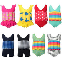 2018 Children Professional Buoyant Swimming Suits Cute Printed Boys and Girls Buoyancy Swimwear One piece Swimsuits 63218