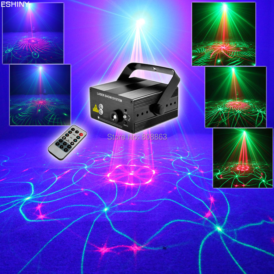 ESHINY Remote Blue Led Mini R&G 24 patterns Laser Projector Club Party Bar DJ Lighting Dance Disco Xmas party Effect Light 1B178
