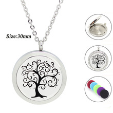 316L Stainless Steel Round Tree of life Aromatherapy Pendant for Women Essential Oil Diffuser Necklace Perfume Locket Jewelry
