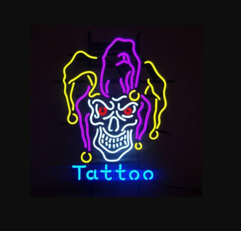 Barre de bière de signe de néon de verre de tatouage de diable de crâne ouvert fait sur commande