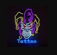 Custom Open Skull Devil Tattoo Glass Neon Light Sign Beer Bar