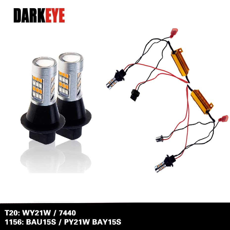 Car <font><b>LED</b></font> <font><b>T20</b></font> 7440 WY21W 1156 BAU15S BAY15S Daytime Running Light & Front Turn Signals Light Car <font><b>DRL</b></font> Winker White + Yellow AC image
