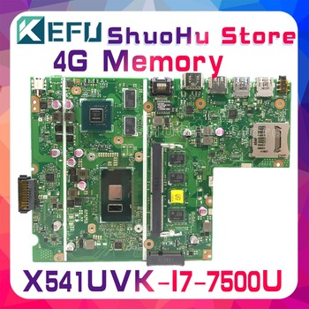 KEFU For ASUS X541UJ X541U F541U F541UV X541UVK I7-7500U 4GB/Memory laptop motherboard tested 100% work original mainboard