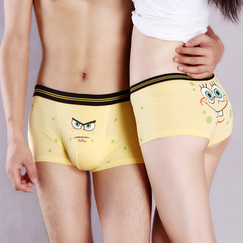 DENNYLITER New Cute Cotton Couple Underwear Lovers Cartoon Underpants Soft Modal Panties Women Underwear Men Boxer Shorts Cuecas