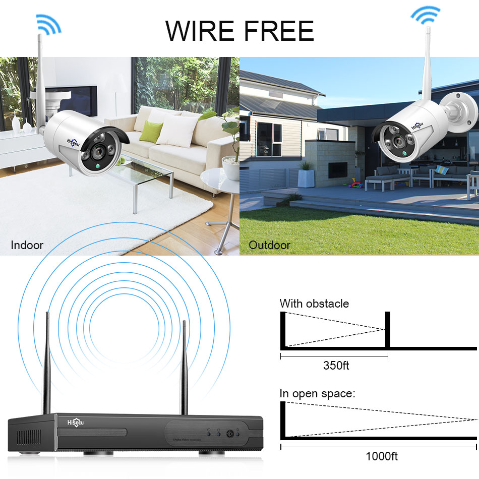 Image 3 - 1080P Wireless CCTV System 2M 8ch HD wi fi NVR kit Outdoor IR Night Vision IP Wifi Camera Security System Surveillance Hiseeu-in Surveillance System from Security & Protection