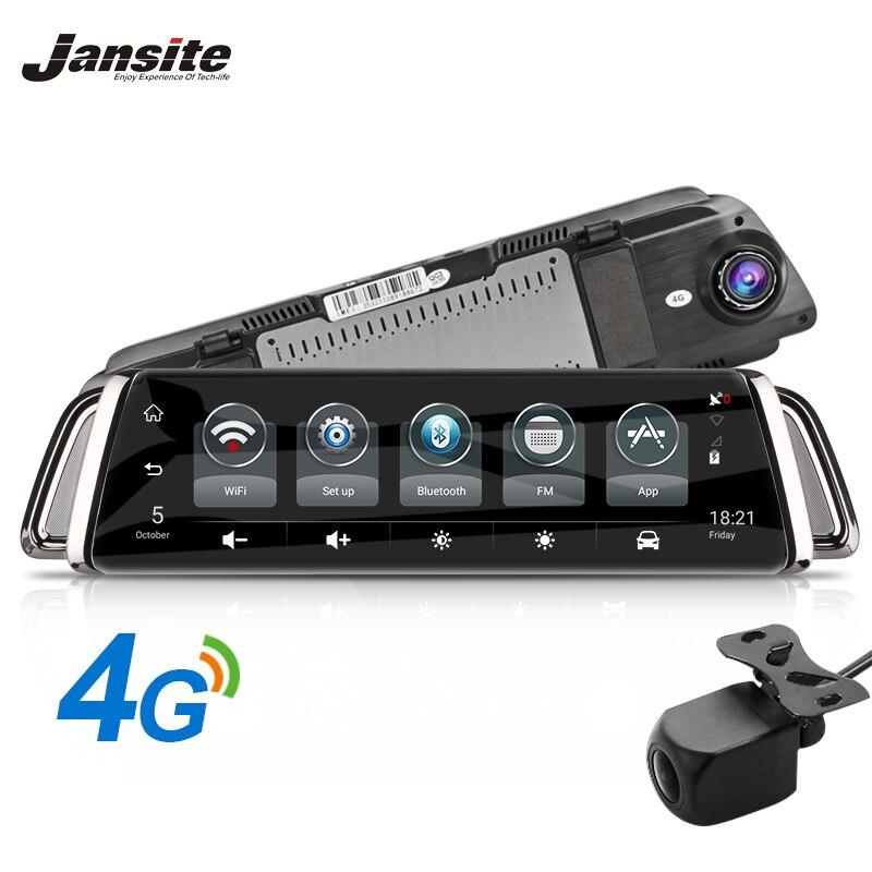 Jansite 10 Écran Tactile 3g 4g WIFI Smart Voiture DVR Android Flux Médias Rétroviseur Double Lentille image inversée GPS Navigation ADAS