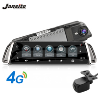Jansite 10 Touch Screen 3G 4G WIFI Smart Car DVR Android Stream Media View Mirror Dual Lens reverse image GPS Navigation ADAS