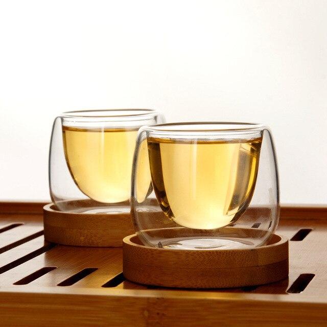 Bodum Double Tasse murale 6 pièces   Tasses à thé avec soucoupes en bambou, ensemble Tasse Anti-chaleur café Oolong Puer, Tasse de thé parfumée