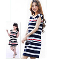 Summer school girl striped dress family matching outfit casual sleeveless mom and baby girls mother and daughter dresses clothes