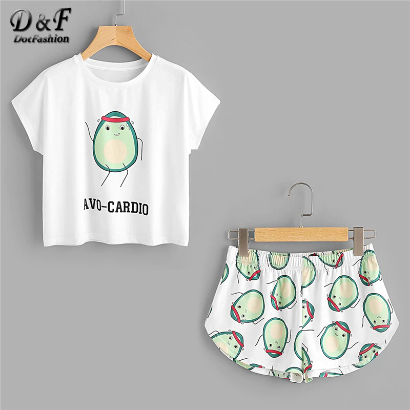 Dotfashion Cartoon Avocado Print Tee And Shorts Set Women Pajamas 2019 Short Sleeve Casual Pajama Set Female Stretch Sleepwear