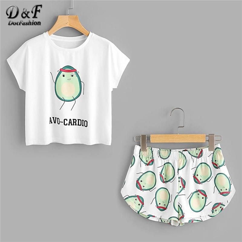 Dotfashion Cartoon Avocado Print Tee And Shorts   Set   Women   Pajamas   2019 Short Sleeve Casual   Pajama     Set   Female Stretch Sleepwear
