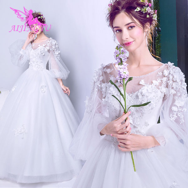 AIJINGYU 2018 luxury free shipping new hot selling cheap ball gown lace up back formal bride
