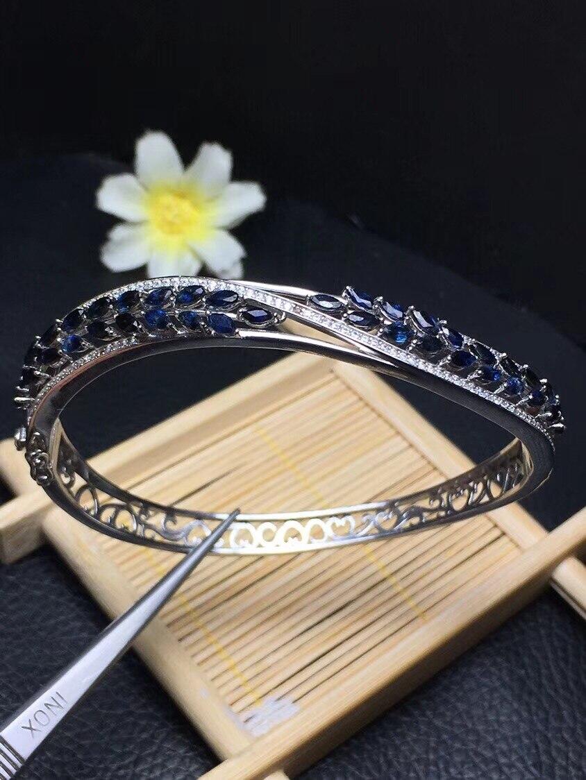 Najnowsza konstrukcja naturalny szafir bransoletka wysokiej klasy biżuteria monopolu ze srebra próby 925 nosić doskonały efekt w Bransoletki i obręcze od Biżuteria i akcesoria na  Grupa 2