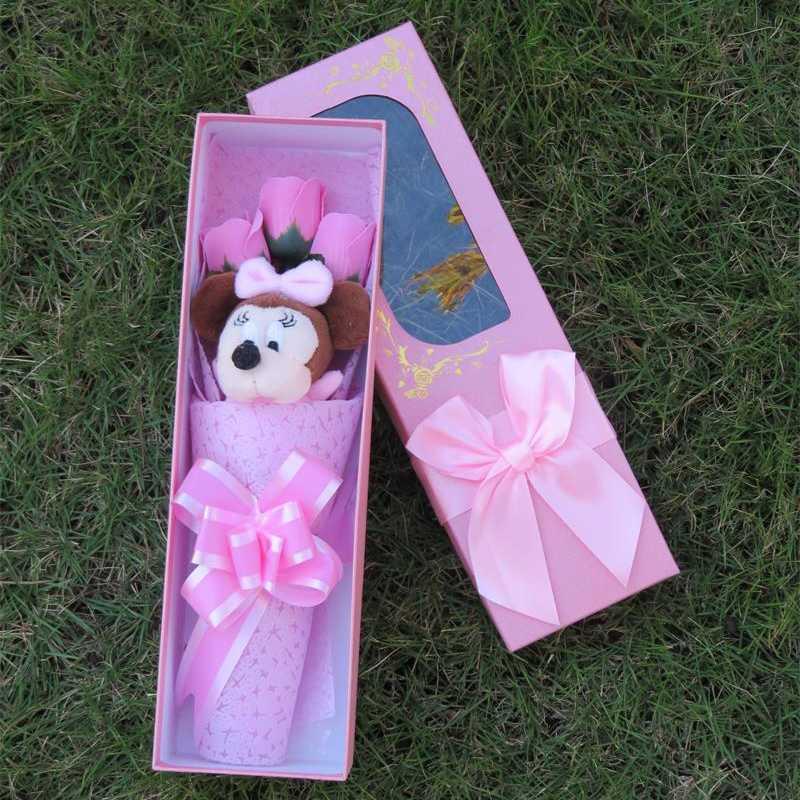 Милый мягкий милый Мышонок с мылом цветы Мультфильм букеты вещи животных плюшевые игрушки Творческий подарок на день Святого Валентина/выпускной