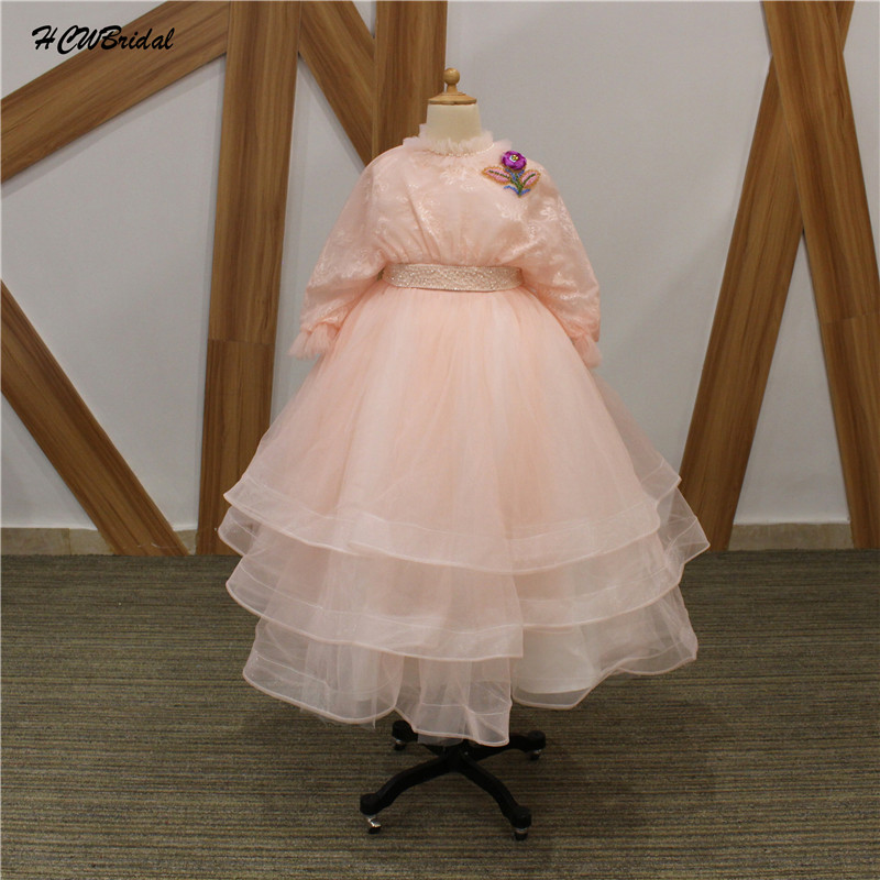 Blush pink princess flower girl dresses with lace jacket 2018 chic blush pink princess flower girl dresses with lace jacket 2018 chic beaded flower tiered tulle junior party gowns custom made mightylinksfo