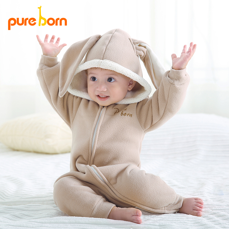 Pureborn Baby Clothes Newborns Clothes Rompers Jumpsuit Cute Rabbit Thick Warm Soft Girl Boy Spring Autumn Winter Infant 2018