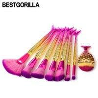 Professional 7 10 12pcs Set Fish Makeup Brush Makeup Tools Mermaid Diamond Matte Diamond Combination