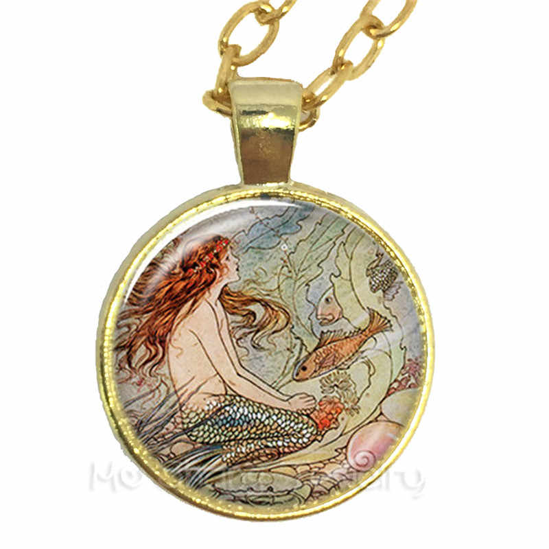 รอบแก้ว Cabochon 25 มม.Little Mermaid สร้อยคอแฟนตาซีทะเลเทพนิยายเทพนิยาย Glass Art Picture สร้อยคอ