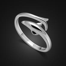 New 925 sterling silver ring female cute dolphin solid open ladies popular jewelry birthday gift Free shipping