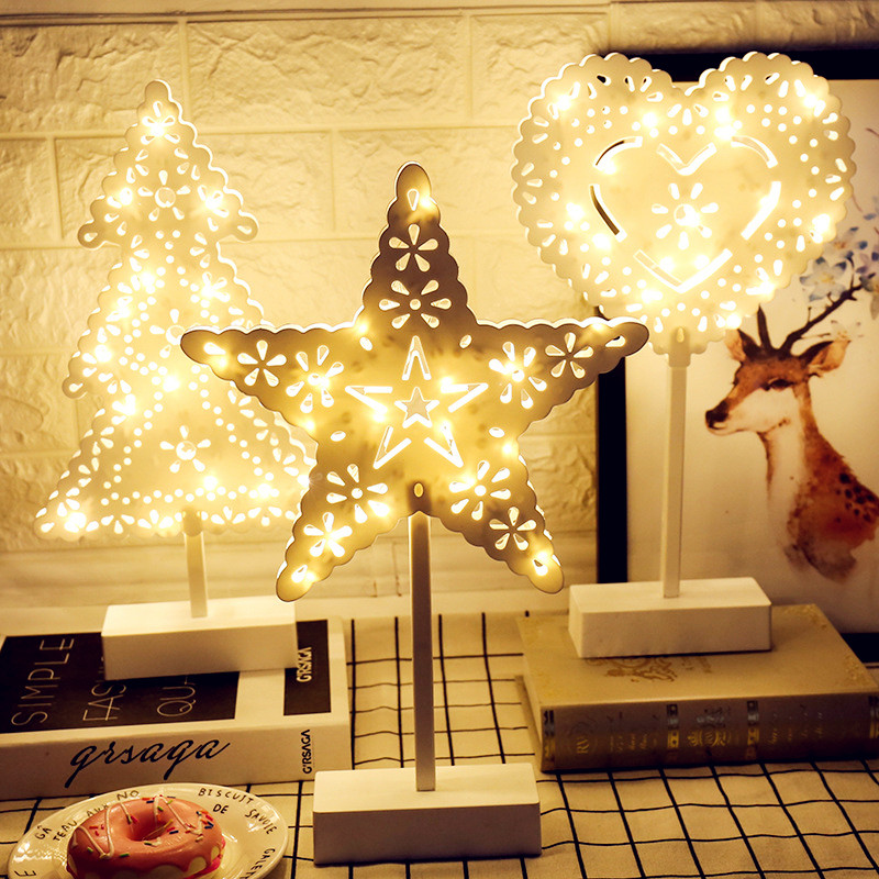 Battery Operated LED Night Light Christmas Tree Stars Heart Love Shaped Warm White Girl Room Decoration Night Table Lamp ropio 3d night light box led table lamp marquee giraffe battery operated for children s room wedding party birthday decoration