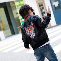 High end Children's PU Washed Leather Jacket Cartoon Print Baby Boys Coat Spring New Jacket Long Sleeve Casual Kids Outwear Y284