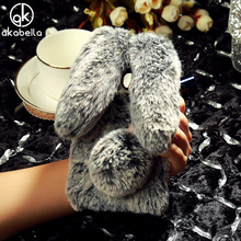 AKABEILA Fluffy Rabbit Fur Case For Samsung Galaxy J5 2015 J500F J500F/DS J500G/DS J500Y J500M Bling Diamond Cover Shell(China)