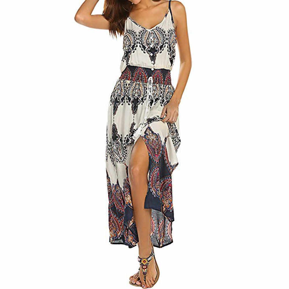e7ff38d36a089 Feitong Dress Women Summer Sleeveless Bow tie Boho Dresses Sexy V Neck  Bodycon Hollow Party Beach Dress Female Vestidos /PY