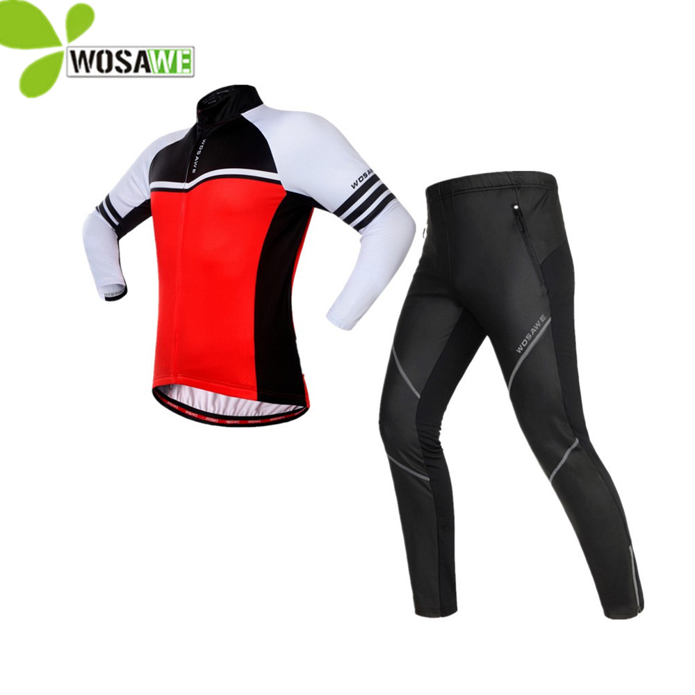 WOSAWE autumn cycling set ropa ciclismo thermal fleece jerseys PU pants windproof ciclismo bike bicycle clothes riding suits new wosawe brand new cool cycling jersey set short sleeve sportswear polyester summer bike cycling clothing ropa ciclismo fcfb
