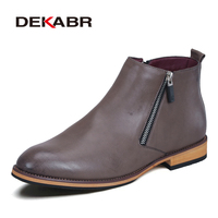 Men Boots Comfortable Black Winter Warm Waterproof Quality Fashion Ankle Boots Casual Men Leather Snow Boots