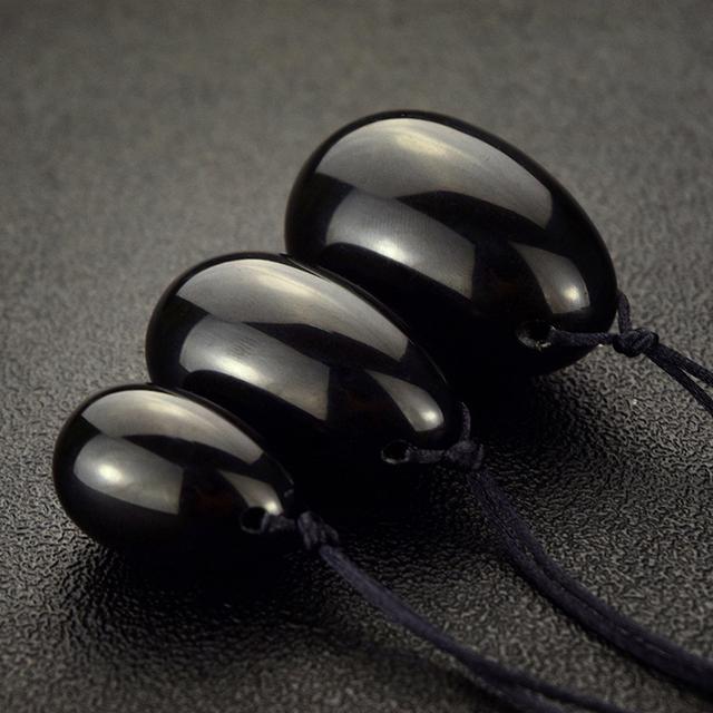 Drilled Natural Black Obsidian Yoni Egg for Kegel Exercise