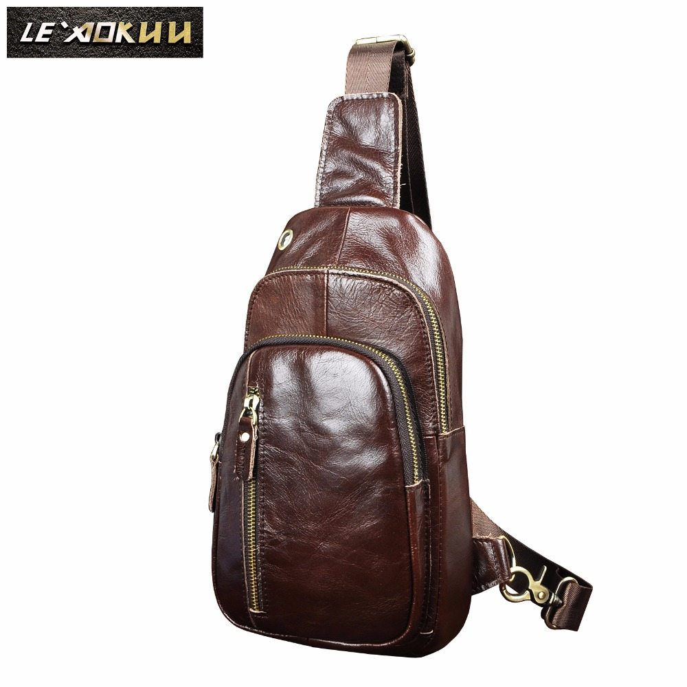 Men Quality Leather Casual Fashion Chest Sling Bag Coffee Design Travel Triangle One Shoulder Cross Body Bag Daypack Male 8005c